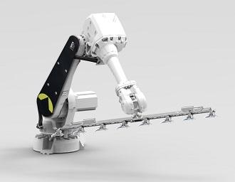 Robotarm voor het oppikken, verplaatsen of wijderzetten van rijen potplanten