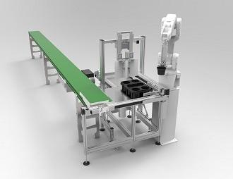 Robotarm die in verschillende dimensies potplanten oppakt en in de tray zet